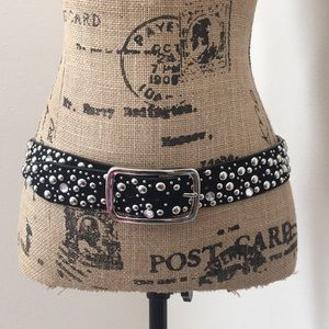 Accessories - Black leather belt with silver rhinestones large